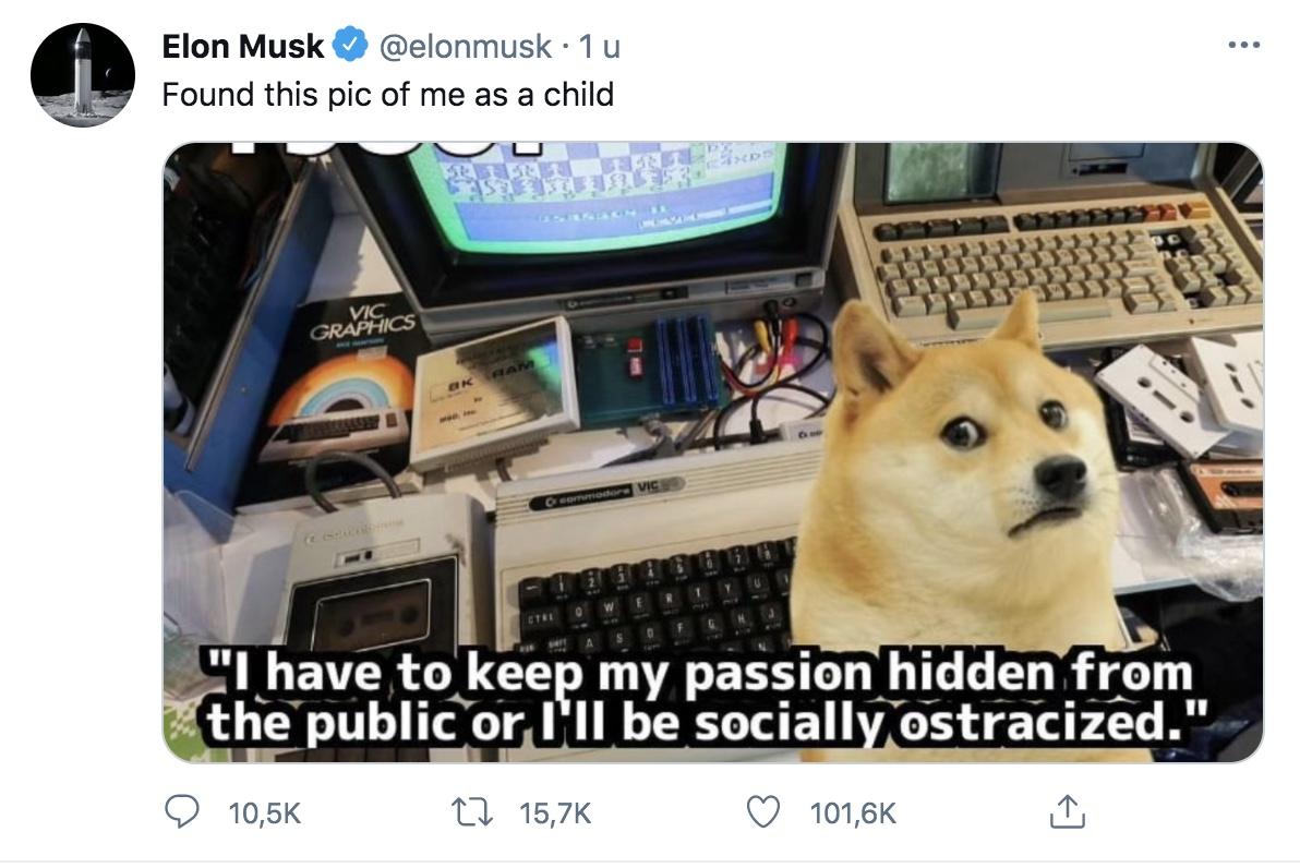 Musk tweet Dogecoin passie
