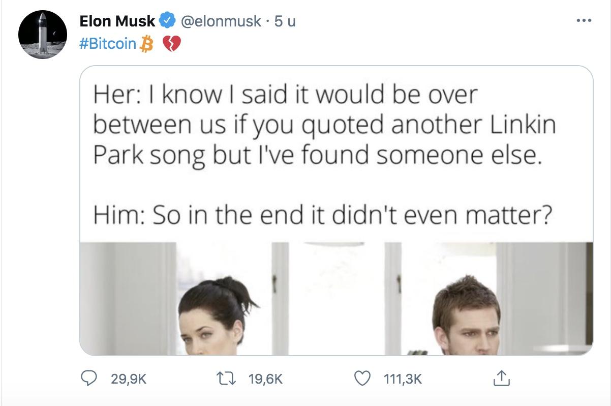 Musk zegt liefde met bitcoin op
